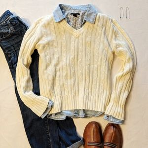 Sweaters - (3/$33 Deal) Vintage Pale Yellow V-Neck Sweater